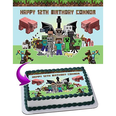 Minecraft Edible Cake Topper Personalized Birthday 1/2 Size Sheet Decoration Party Birthday Sugar Frosting Transfer Fondant Image](Minecraft Cake Supplies)