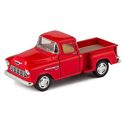 Kinsmart 1955 Chevy Stepside 3100 Pick up truck 1:32 diecast car RED (Classic Red Wooden Car)