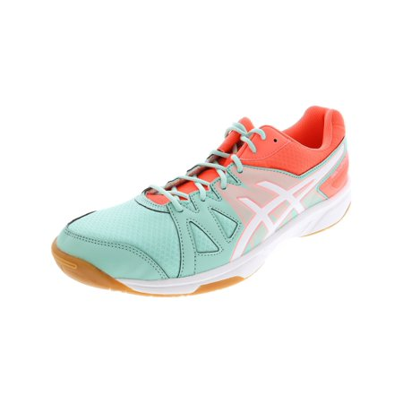 Asics Women's Gel-Upcourt Mint / White Fiery Coral Ankle-High Indoor Court Shoe -