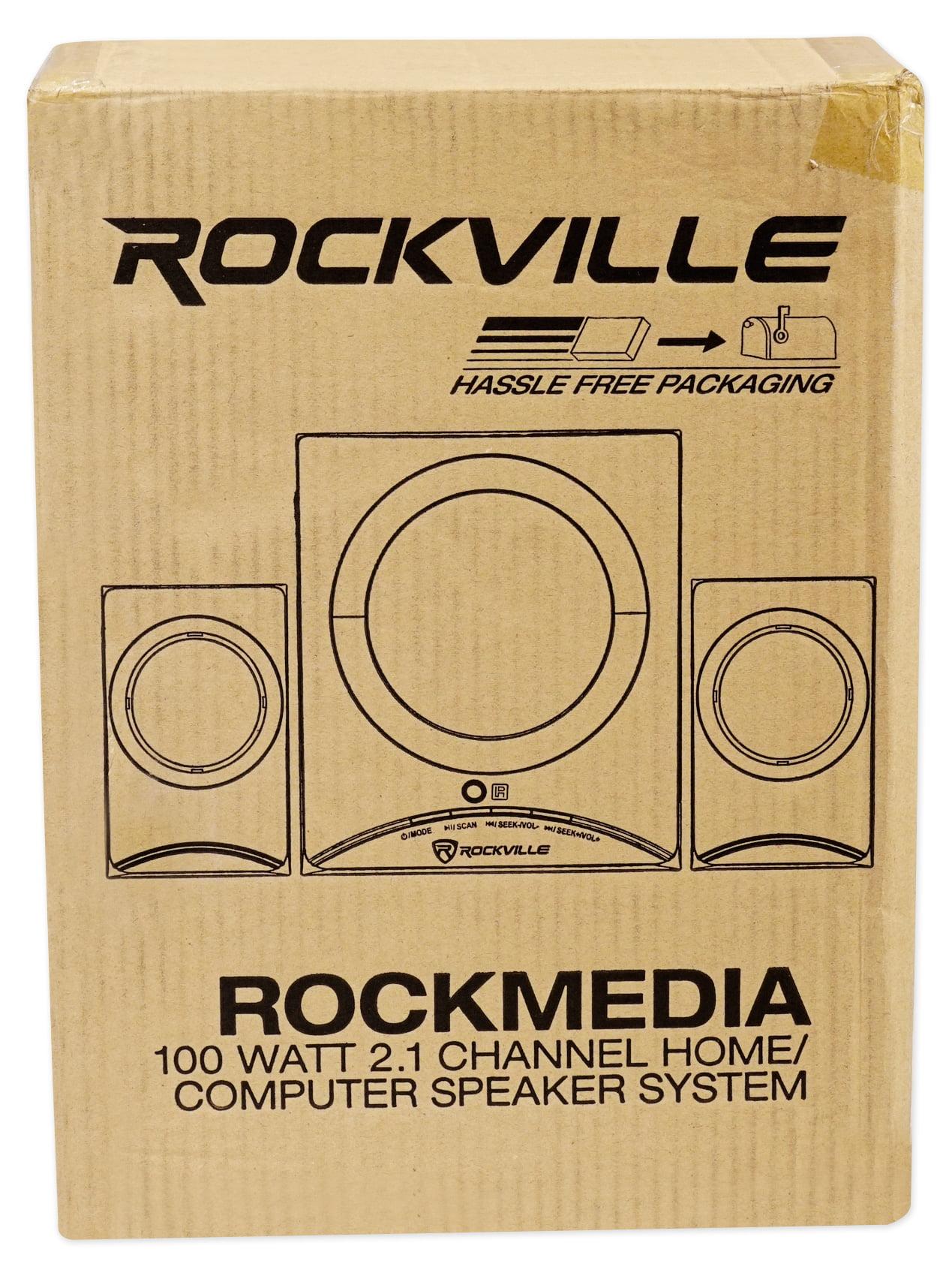 Rockville Rock Media Bluetooth Bookshelf Speaker System+Sub//USB//SD//FM+Remote