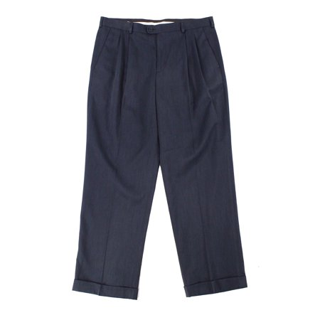 Pants Navy Mens 32X30 Slim Dress - Flat Front 32