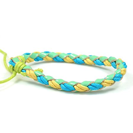 Fashion Jewelry Handmade geninue braided woven neon green blue yellow bright colorful leather hemp adjustable surfer bracelet women men L021