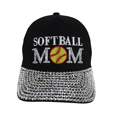 Softball Mom Black Rhinestone Covered Baseball (Baseball Softball Cap)