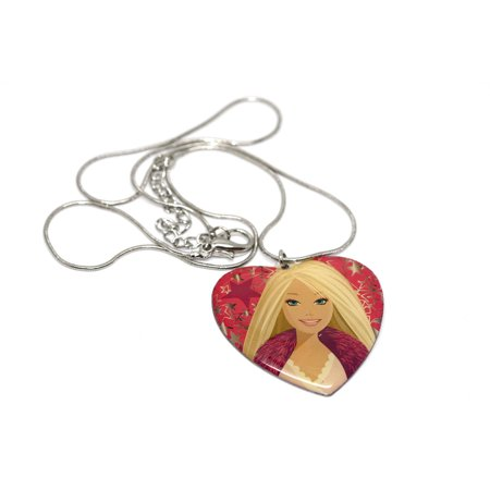 BRACCIALE MATTEL CLASSIC BARBIE FACE PINK HEART TAG CHAIN FASHION NECKLACE