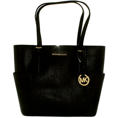 e0309dabfa75 Michael Kors - Michael Kors Women's Large Jet Set Travel Leather Top-Handle  Tote - Black - Walmart.com