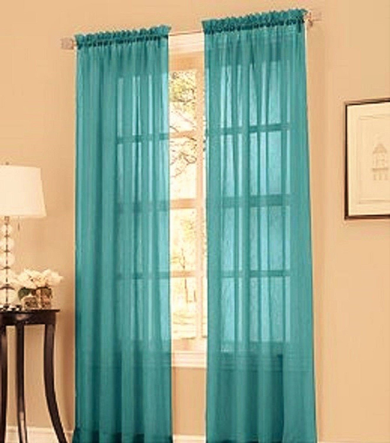 2pc Teal Blue Solid Sheer Voile Window
