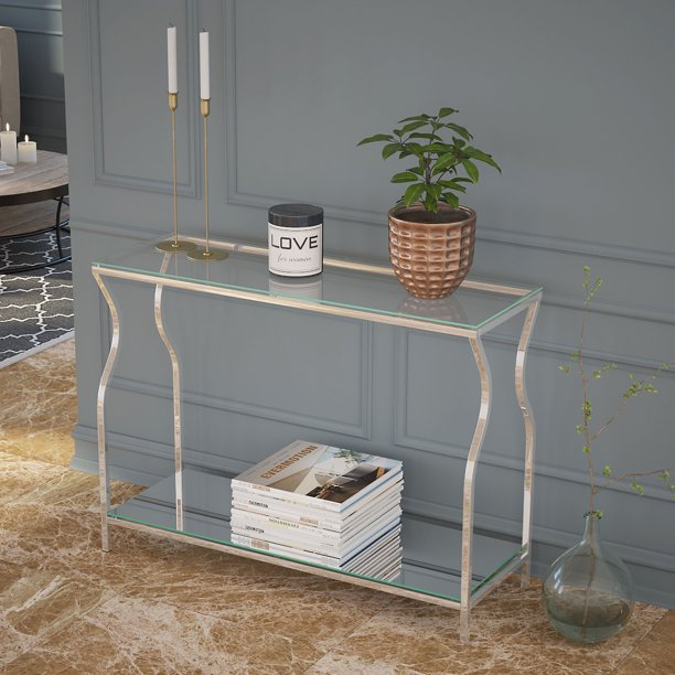 Contemporary 2 Tier Glass, Mirror and Metal Console Table