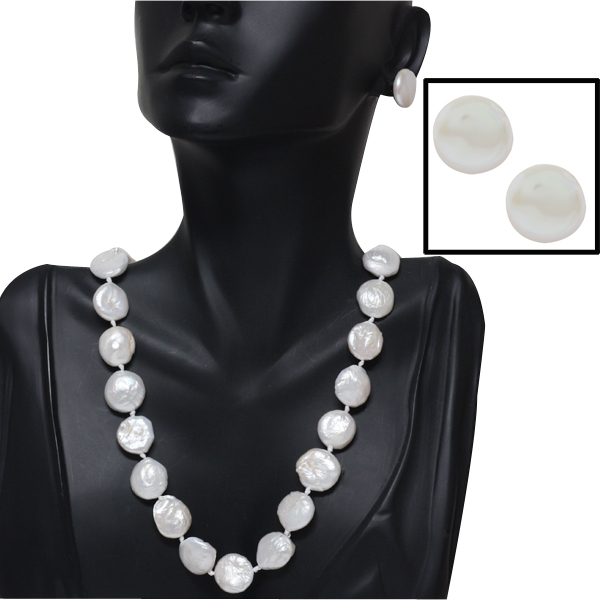 "18"" White 14-15mm Coin Cultured Freshwater Pearl Necklace & Earring Set"
