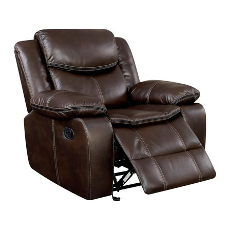 - Leatherette Glider Recliner Chair With Large Padded Arms In Brown