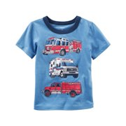 Carters Baby Clothing Outfit Boys Firetruck Graphic Tee T-shirt Blue