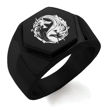 Stainless Steel Tribal Dragon Yin Yang Engraved Hexagon Crest Flat Top Biker Style Polished Ring - Dragon Ring Jewelry