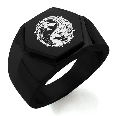 Stainless Steel Tribal Dragon Yin Yang Engraved Hexagon Crest Flat Top Biker Style Polished Ring (Dragon Ring)