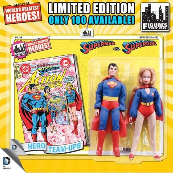 Superman & Supergirl Action Figure 2-Pack Yellow Card DC