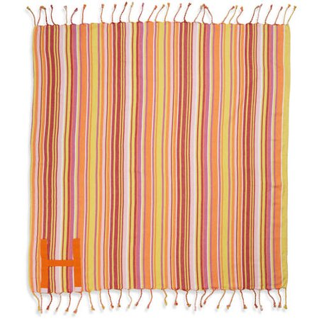 Hand Made Fringed Roll Up Beach Blanket With Easy Carry Handle 60 X