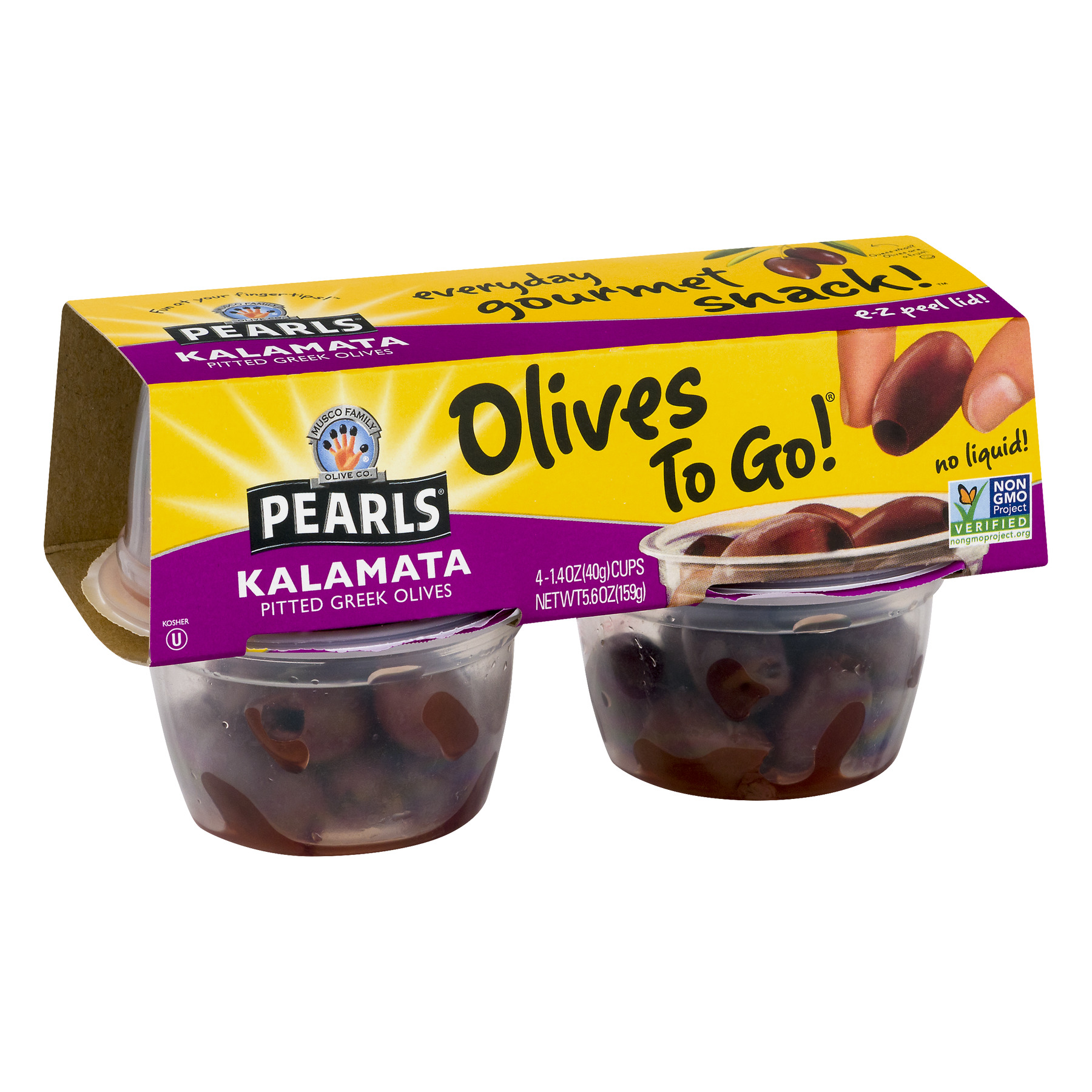(2 Pack) Pearls Kalamata Pitted Greek Olives - 4 PK, 1.4 OZ