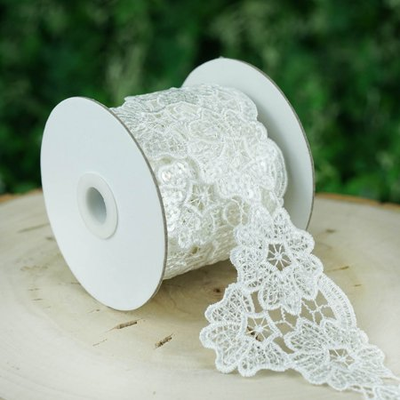 Efavormart Cherry Blossom Inspired Clear Sequined Crocheted Heavy Lace Ribbon Trim 3.15