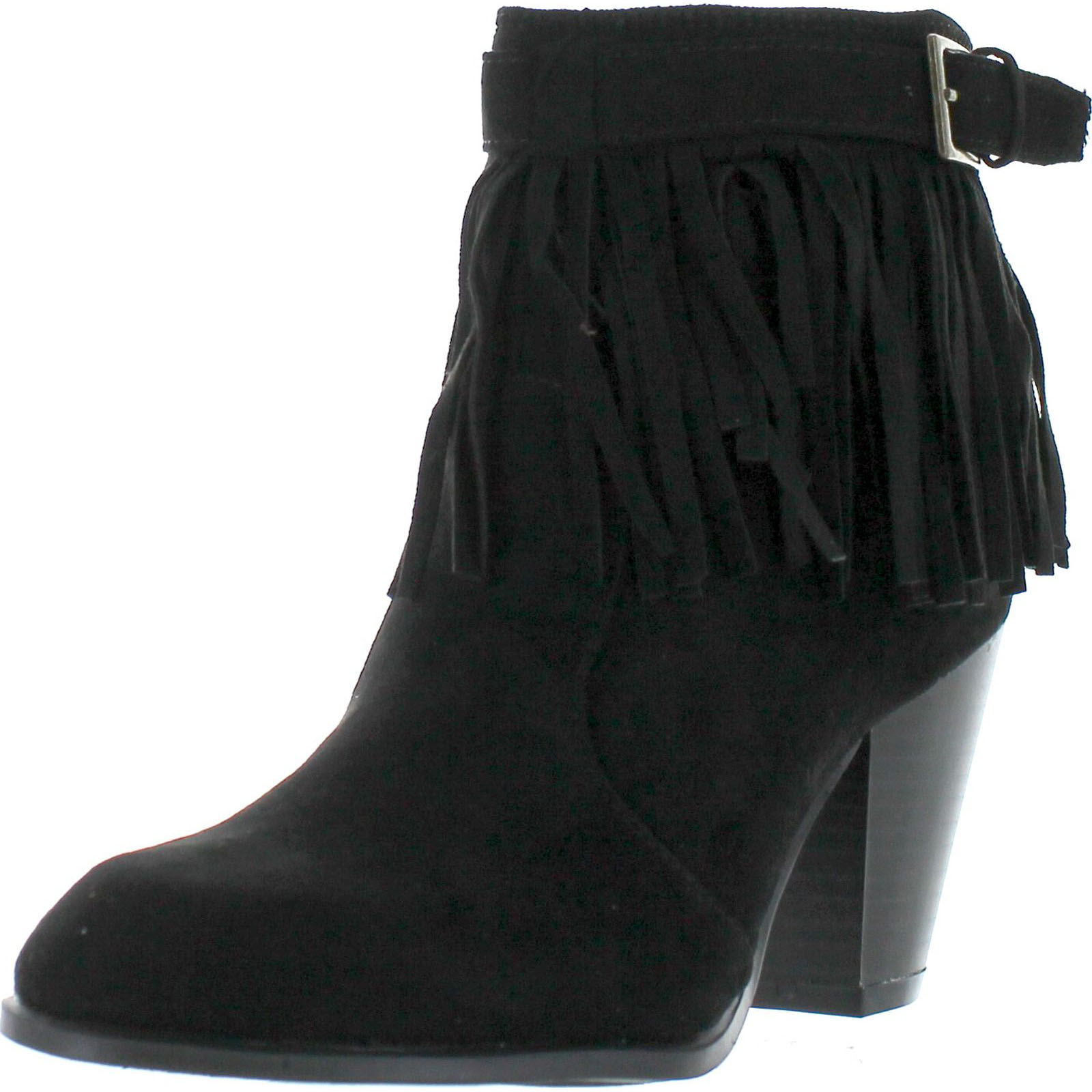 QUPID SALTY-21X Women's Fringe Pointy Toe Stacked Chunky Heel Ankle Booties