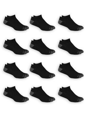 Fruit of the Loom Dual Defense Men's No Show Socks, 12 Pack, 6-12, Black/Gray