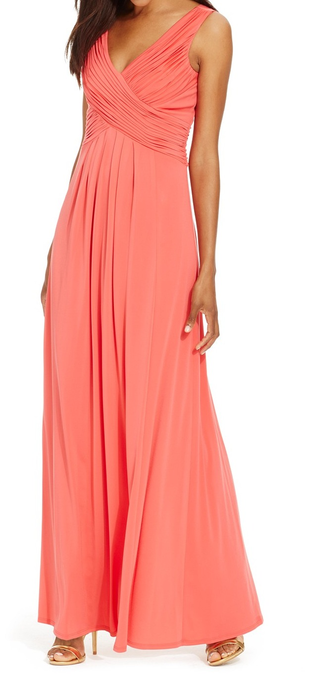 Sangria NEW Pink Coral Reef Criss-Cross Pleated Women\'s 10 Maxi ...