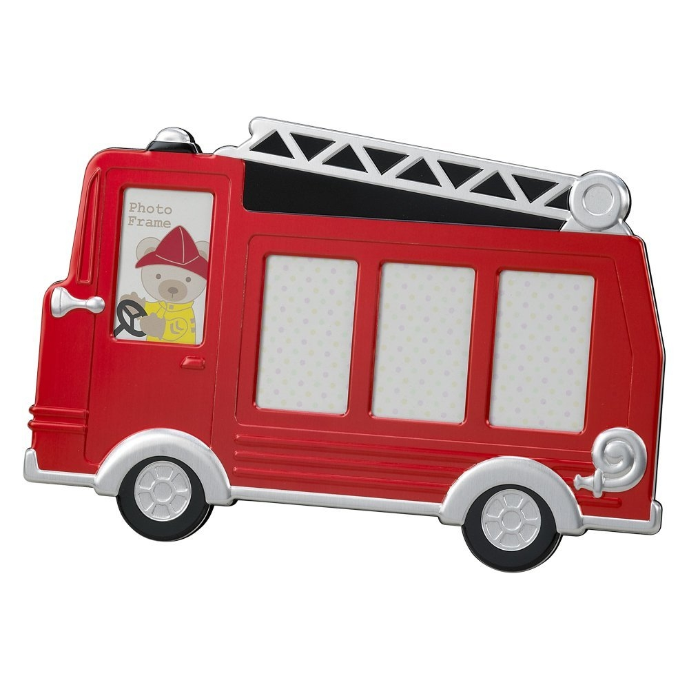 Red Fire Truck Metal Photo Frame – For baby and children, boys and girls, Holds 4 photos