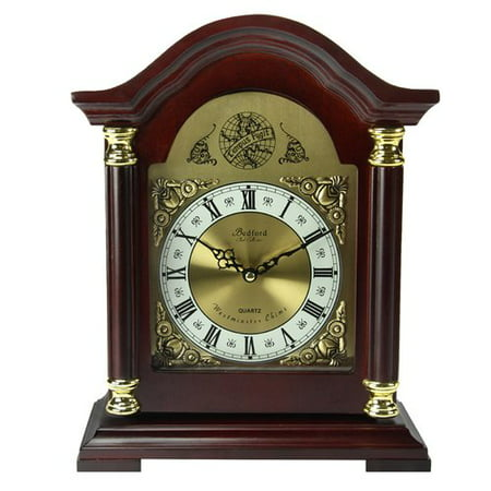 Bedford Clock Collection Redwood Mantel Clock with Chimes - Rustic Mantel Decor