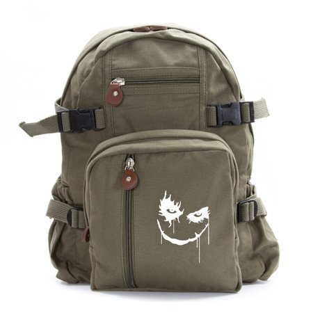 The Joker Face Army Sport Heavyweight Canvas Backpack Bag in Olive, (Best Small Purses 2019)
