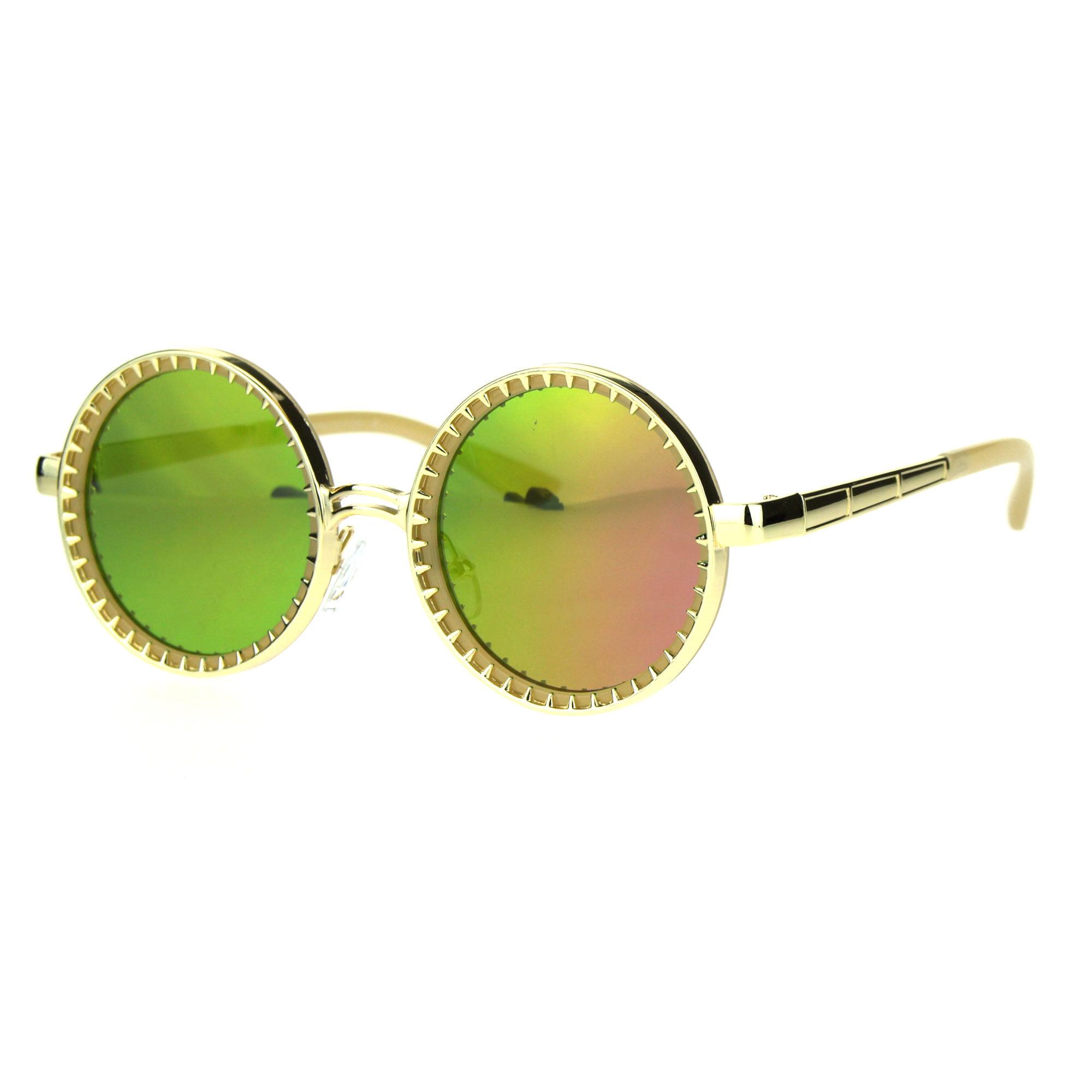 Victorian Gold Circle Steampunk Fuchsia Color Mirror Round Lens Sunglasses qUzpVSMG