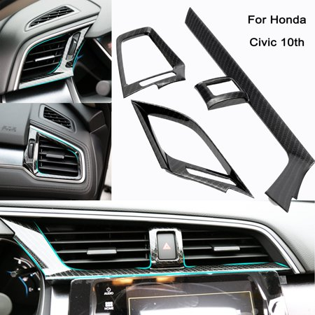 Xotic Tech 1 Set Carbon Fiber Pattern Dashboard Air Condition Vent Outlet Cover Trim Sticker for Honda Civic 10th 2016 (Trail Tech Dash Board)