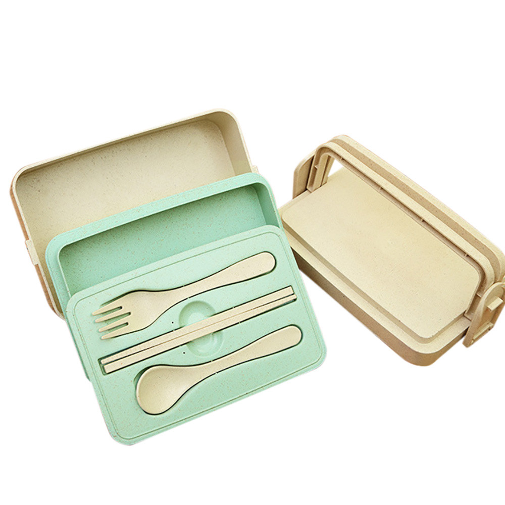iLH Mallroom Lunch Box Food Container Portable Wheat Straw Bento Chopstick Fork Spoon