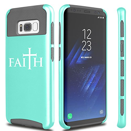 For Samsung Galaxy Shockproof Impact Hard Soft Case Cover Faith Cross (Teal For Samsung Galaxy S8+ (Plus))