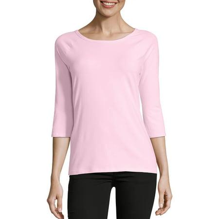 Women's Stretch Cotton Raglan 3/4-Sleeve (Pink Rayban)