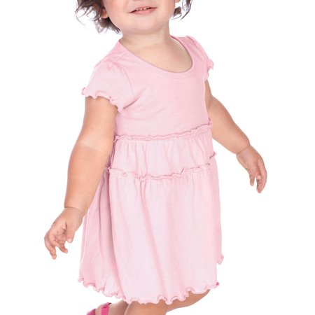 Kavio IJC0461 Infants Tiered Lettuce Edge Dress-Baby Pink-12M