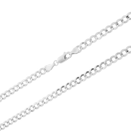 "14k White Gold Solid Mens Womens 5mm Cuban Curb Chain Pendant Necklace, 16""- 30"""