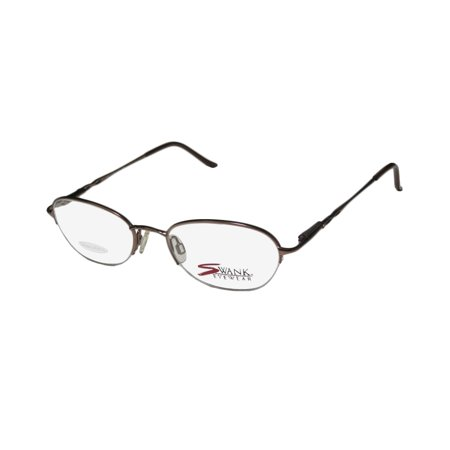 New Swank Lilac Womens/Ladies Designer Half-Rim Satin Brown Flexible Hinges Half-rimless Hip Frame Demo Lenses 50-19-135 Strass Spring Hinges Eyeglasses/Eye Glasses Rimless Half Eye
