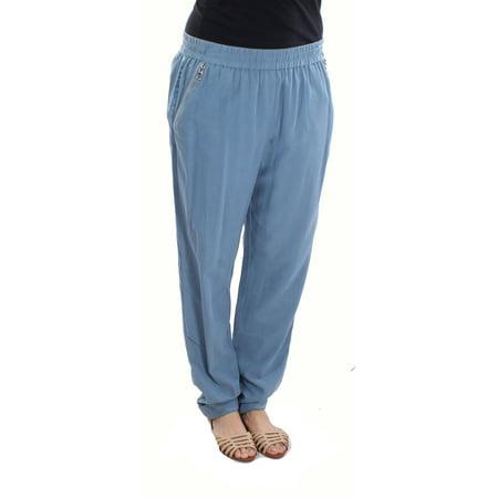 Rebecca Taylor NEW Blue Womens Size 10 Zipper-Pockets Pants Silk