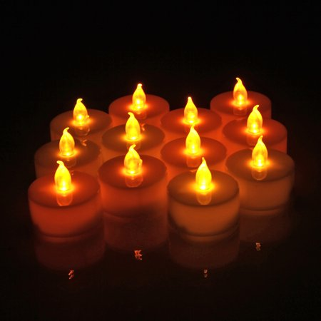 Indoor Camping Party (LED Tealight Candles 12 Pack Flickering Light Flameless Heatless Wickless Battery Powered for Camping Wedding Party Restaurant Club Home Indoor Outdoor)