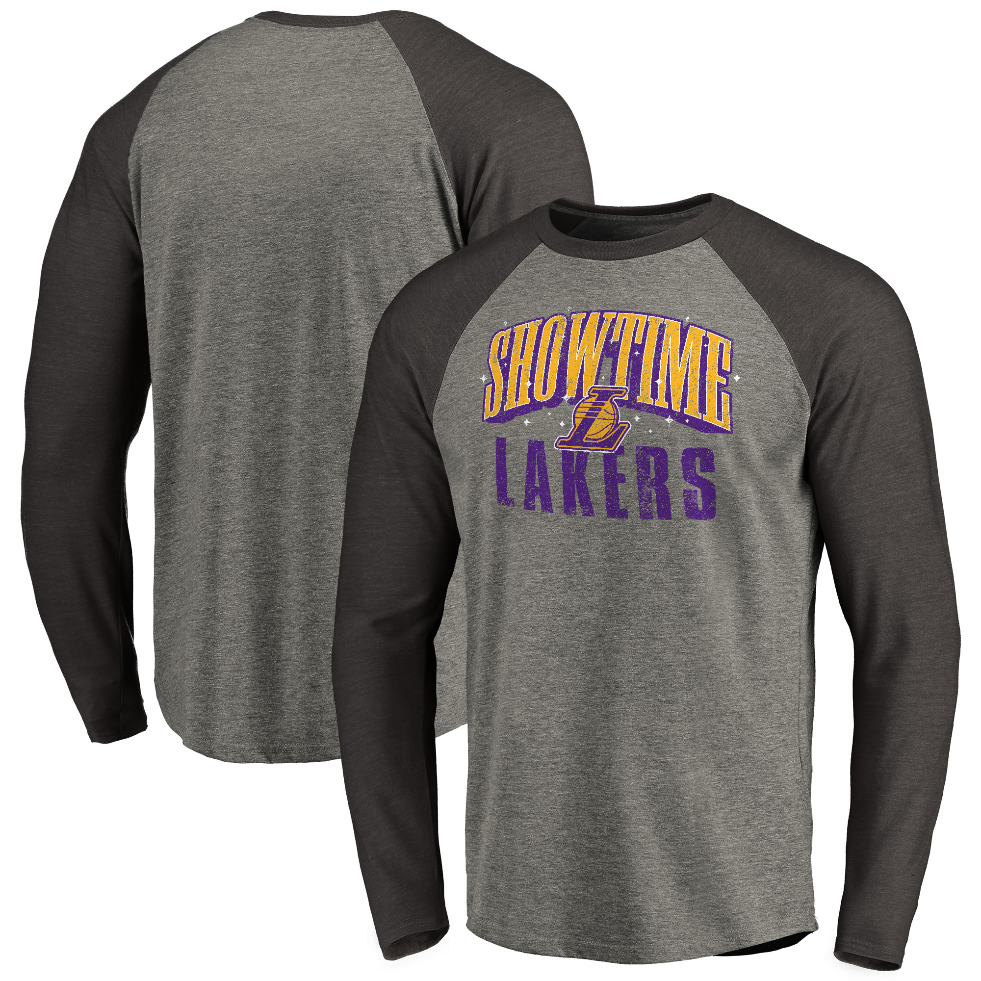 Los Angeles Lakers Fanatics Branded Hometown Collection Showtime Long Sleeve Tri-Blend Raglan T-Shirt - Ash