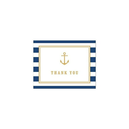 stripes gold anchor nautical baby shower thank you cards