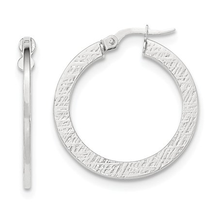 - 14k White Gold Polished/Textured Large Post Hoop Earrings (1.1IN Long)