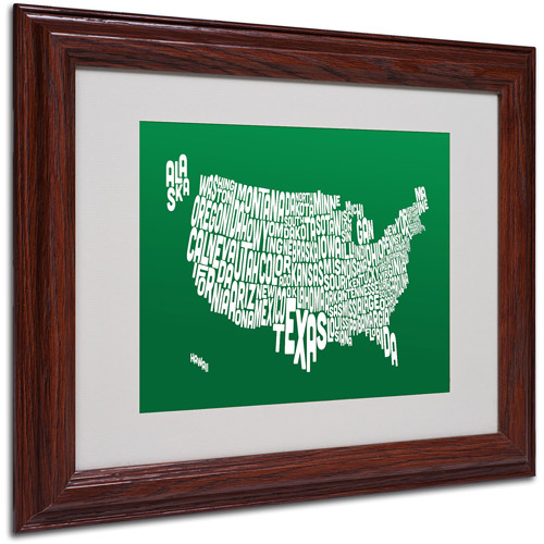 """Trademark Fine Art """"FOREST-USA States Text Map"""" Matted Framed by Michael Tompsett"""