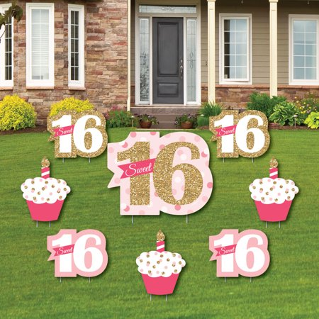 Sweet 16 - Yard Sign & Outdoor Lawn Decorations - 16th Birthday Party Yard Signs - Set of 8 - Signs Of Birthday