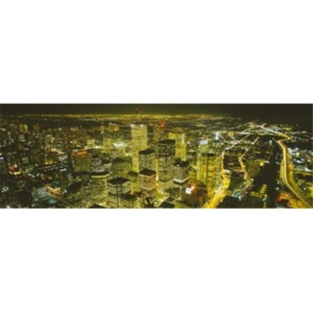 High angle view of a city lit up at night  View from CN Tower  Toronto  Ontario  Canada Poster Print by  - 36 x 12 - image 1 de 1
