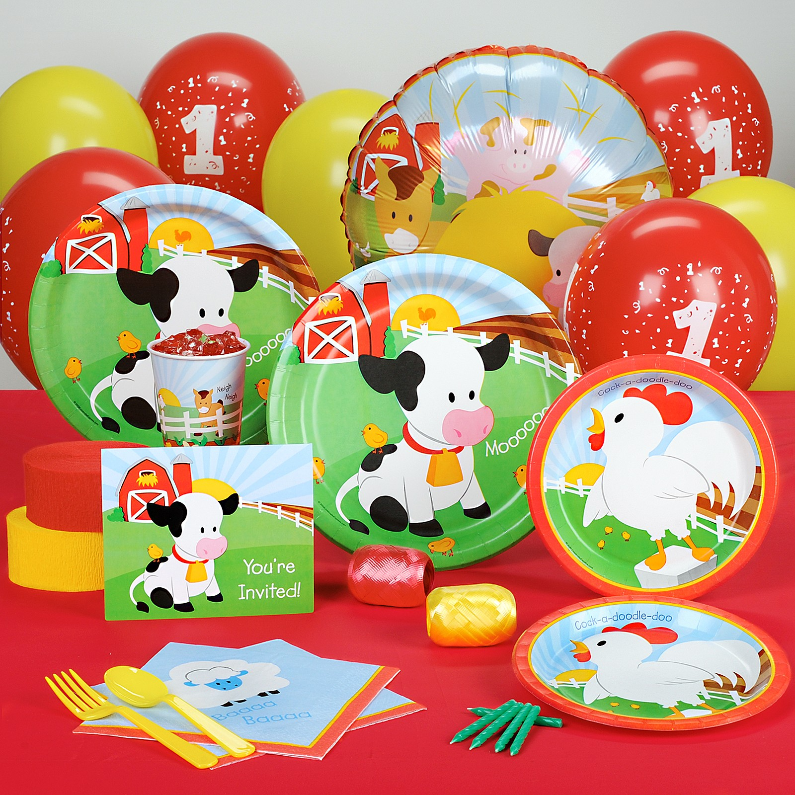 Barnyard 1st Birthday Standard Party Pack for 8