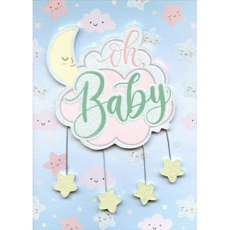 Paper House Productions Oh Baby Moon, Clouds, Stars Tip On 3D Glitter New Baby Congratulations Card](Baby On Cloud)
