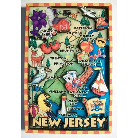 New Jersey Cartoon Map Fridge Magnet ()