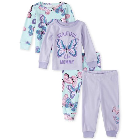 Glow In The Dark Girls Pajamas (The Children's Place Baby & Toddler Girl Long Sleeve Pajamas, 4 Piece)