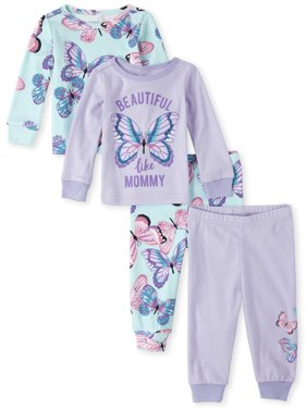 The Children's Place Baby & Toddler Girl Long Sleeve Pajamas, 4 Piece Set
