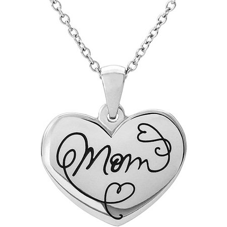 Connections From Hallmark Stainless Steel  Mom  Heart Pendant