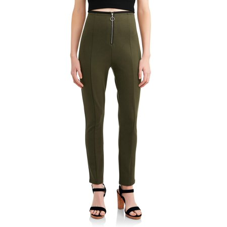 Juniors' Zip Front Cropped Ponte Pant