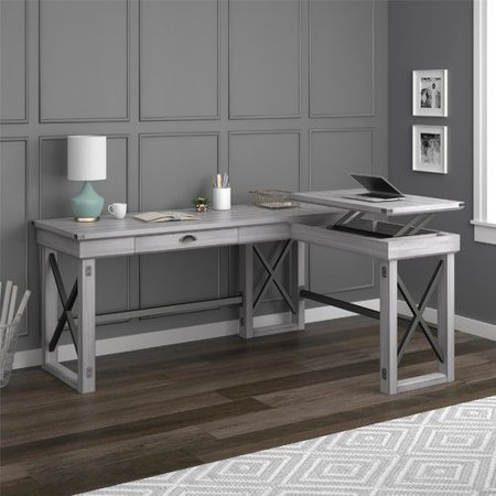 shape alert rustic laurel l shaped shop foundry gray color gladstone modern desk farmhouse off standing deal